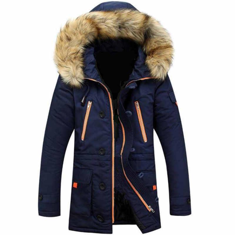 暖かいポケット防風フィット綿ダウン男性コート毛皮フード付き取り外し可能な屋外オムジャケット