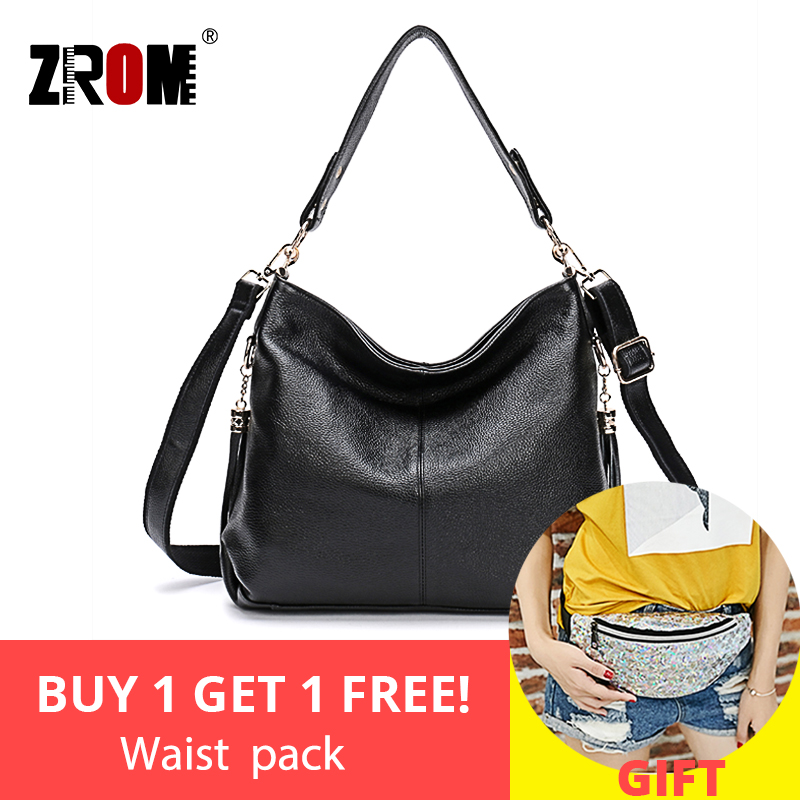 ZROM Leather Handbags Big Women Bag High Quality Casual Female Bag Genuine Leather Tote Fashion Shoulder