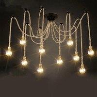 8 головок Стиль Лофт промышленные подвесные светильники столовая пеньковая веревка лампа Винтаж светодиодные edison Стиль