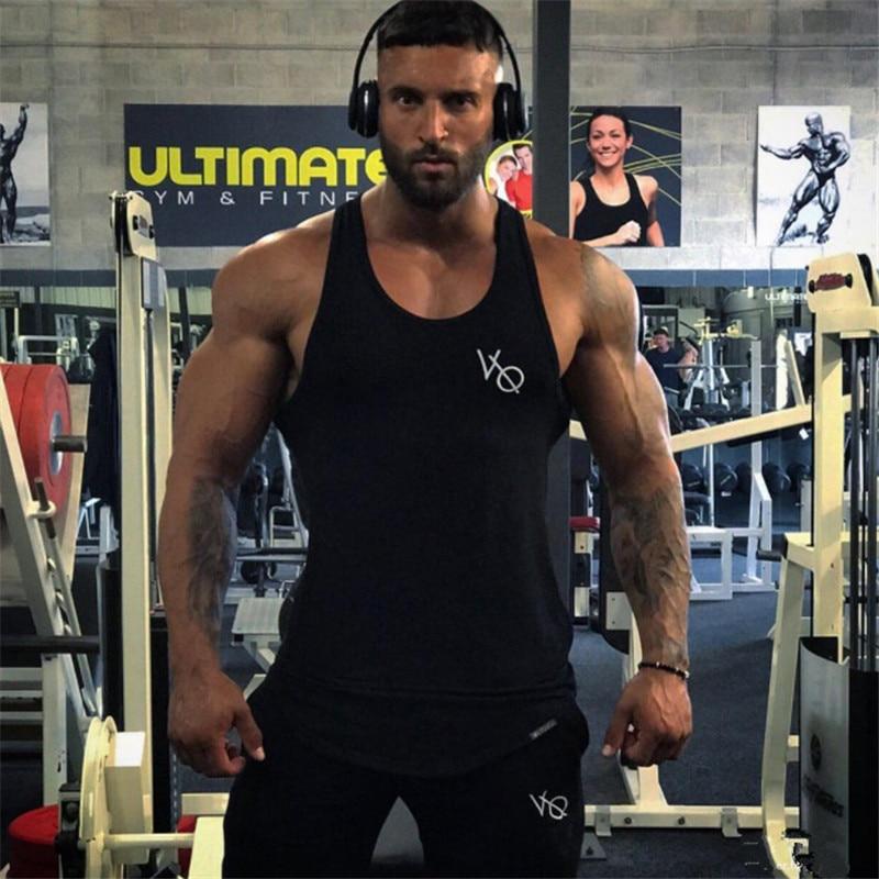 2018 Gymtank Tops Männer Fitness Westen Ärmellose Stringer Weste Baumwolle Druck Topsbrand Männer Golds Tank Tops M-xxl