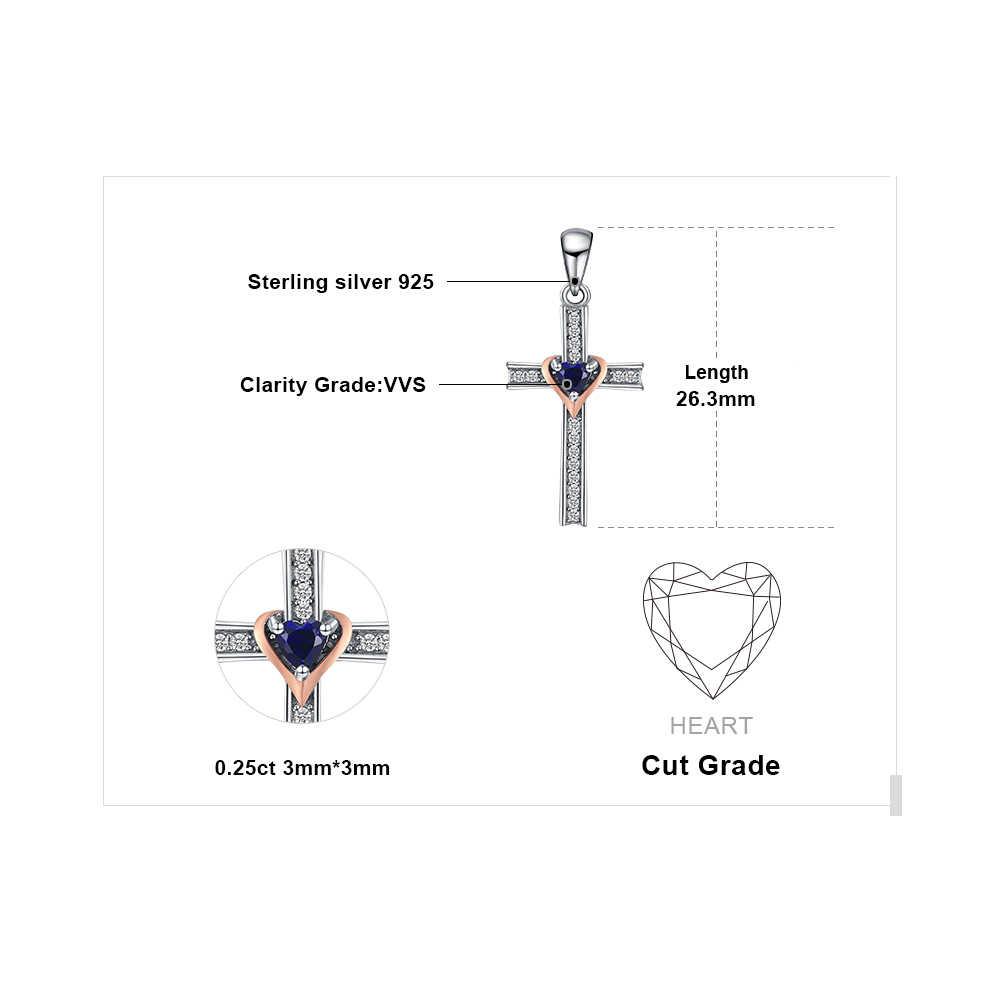 Cruz Coração Criado Blue Sapphire Colar Pingente 925 Prata Esterlina Pedras Preciosas Gargantilha Declaração Mulheres Colar Sem