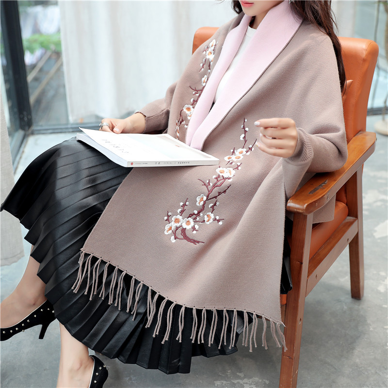 Women 2017 autumn and winter loose fashion noble tassel knitted cardigan womens high quality plum blossom shawl thick sweater A