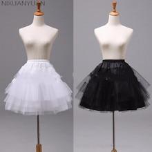 Длиной 45 см белый или черный короткие юбки Для женщин трапециевидной формы из 3 слоев, Нижняя юбка для свадебное платье jupon cerceau mariage
