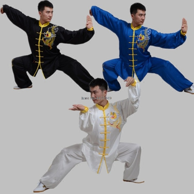 Long Sleeves Tai Chi Sets With Dragon Embroid Kungfu Shirt And Pants Martial Art Clothing Chinese Tang Suit Wushu Wear T130