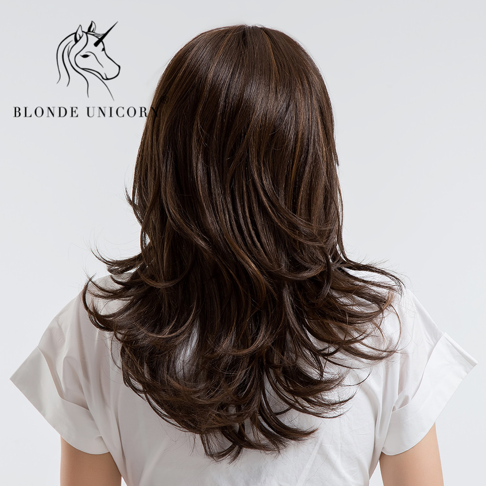 BLONDE UNICORN 18 Inch Womens Wigs Dark Brown Synthetic Side Bangs Natural Long Wavy with Highlights Full Wig Free Gift