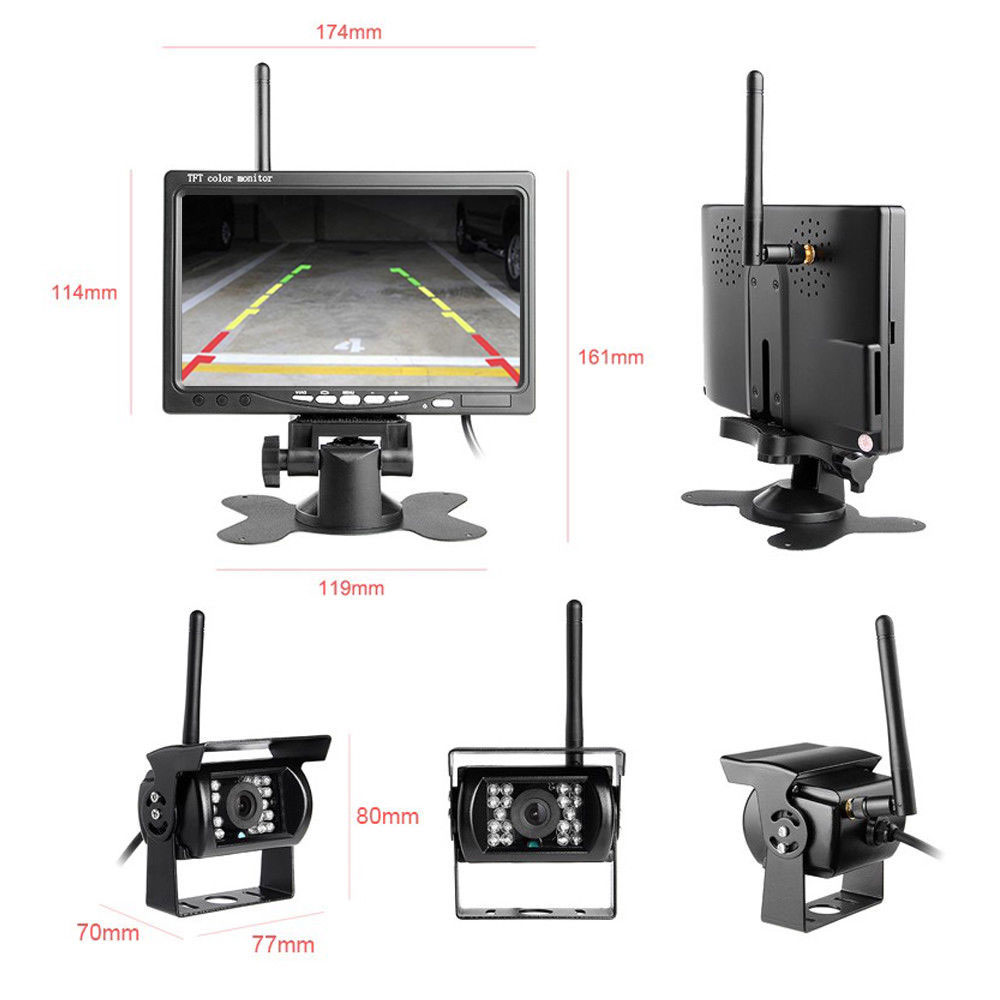 Podofo-Wireless-Rear-View-Reversing-Camera-IR-Night-Vision-7-Car-Monitor-Kit-for-Truck-Bus