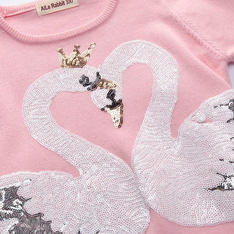 Gemtot 아동용 스웨터 2019 가을/겨울 신상품 한국어 버전 스팽글 백조 스웨터 아동용 라운드 넥 스웨터
