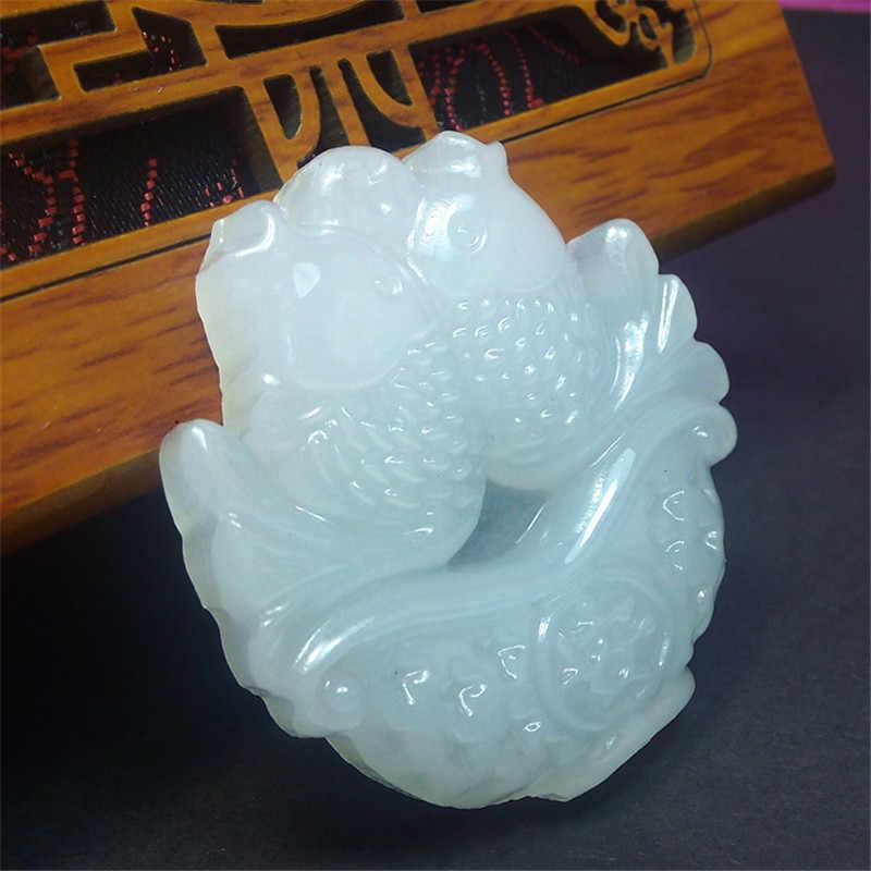 Naturel 3D fait à la main sculpté Double poisson Afghanistan pendentif en pierre blanche femmes hommes amulette Jades bijoux pendentifs + collier de perles