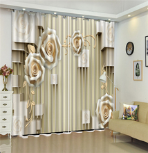3D Curtain Stereo Rose Space Customized Curtains Practical Beautiful Blackout