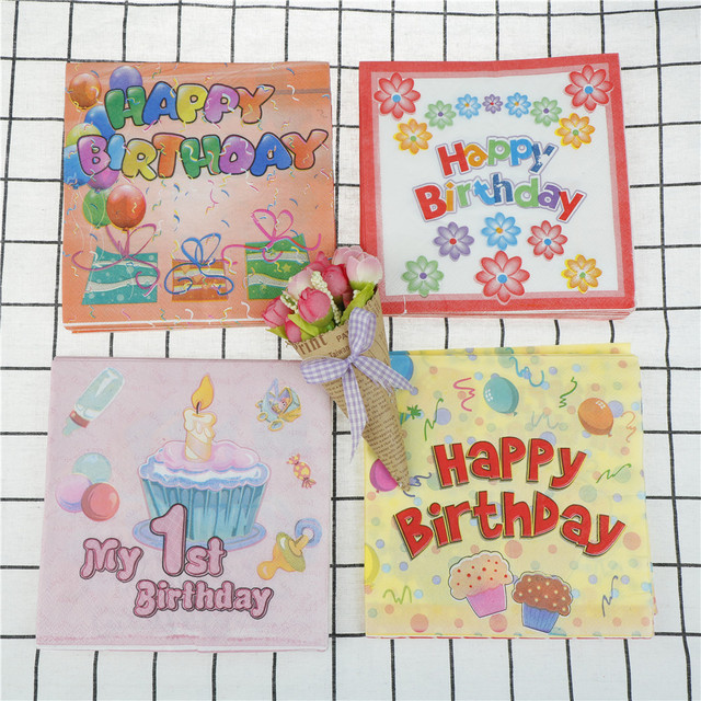20pcs My First Birthday Paper Napkins Birthday Party Decor Party