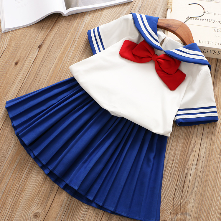 Girl Clothes 2019 Girls Summer Outfits Preppy Style  Bow Tops+Blue Pleated Skirt Suit Kids Toddler Girl Clothes 2-6Y