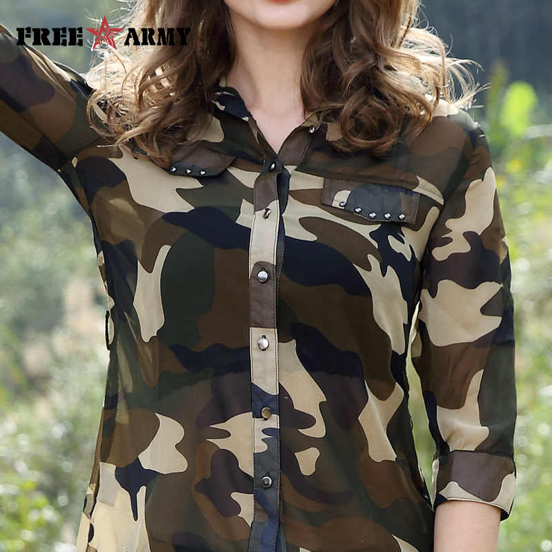 84ff807c07c36 ... Free Army Women's Camouflage Chiffon Shirts Tops Tees Five Sleeves  Designer Fashion Casual Shirts Sexy Blouse