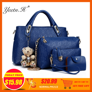 Image 2 - Yeetn.H Women 4 Set Handbags Pu Leather Fashion Designer Handbag Shoulder Bag Black Vintage Female Messenger Bag Sac A Main M129