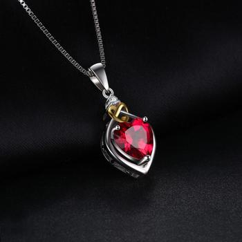 Heart Created Ruby Pendant Sterling Silver Gemstones Statement Necklace  1