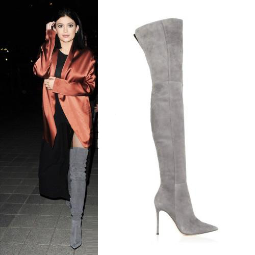 Hot Selling Long Boots Real Photo Apricot Black Pink Suede Pointed Toe Over The Knee Boots Thin Slim Fit Boots Stiletto Heels - 6