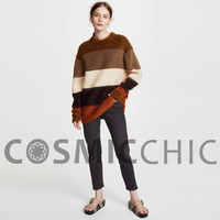 Cosmicchic 2018 Fall Women Knit Mohair Sweater Cross Striped Pullovers Long Sleeve O Neck High Quality Runway Fashion Sweater