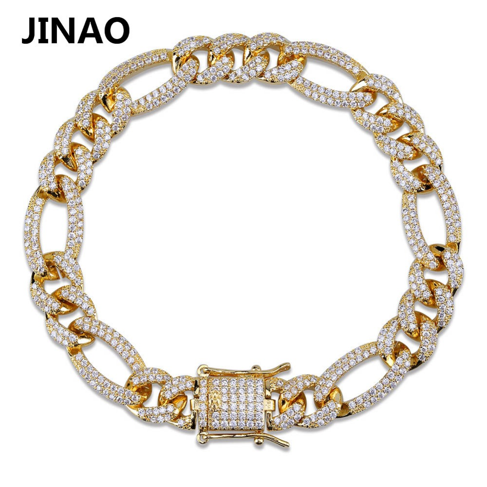 Image 2 - 10mm Personality  Iced Out Miami Curb Men Bracelets Gold Silver Color Hip Hop Jewelry Cuban Chians Crystal CZ Rapper Punk Gifts-in Chain & Link Bracelets from Jewelry & Accessories