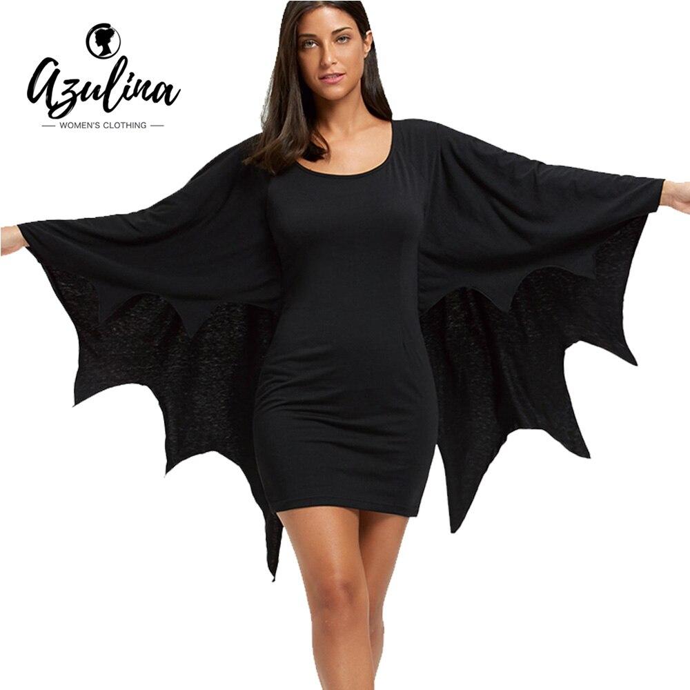 AZULINA Halloween Vestito Aderente con Ali di Pipistrello Stile Gotico U Neck Maniche Lunghe Solid Mini Vestiti Delle Donne Autunno Inverno Abiti