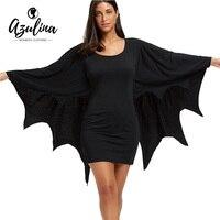 AZULINA Halloween Bodycon Dress with Bat Wings Gothic Style U Neck Long Sleeves Solid Mini Dresses Women Autumn Winter Vestidos