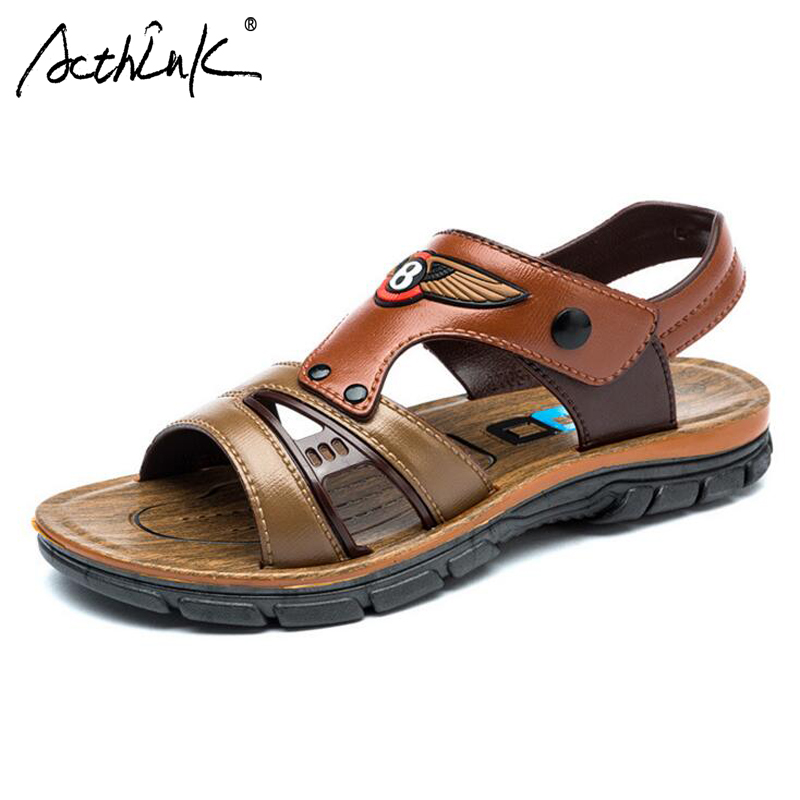 ActhInK New Teen Boys Fashion Sandals with Appliques Boys Summer Breathable Beach Sandals Kids Outdoor Hiking Footwear Sandals