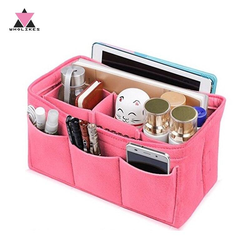 Bolsas de cosméticos portátiles bolso de mano con inserción de tela de fieltro organizador de maquillaje organizador de bolso de viaje multifuncional
