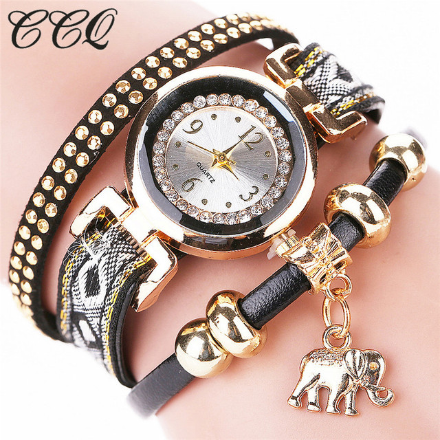 CCQ Brand Fashion Women 2016 Gold Elephant Pendant Luxury Bracelet Watch Female