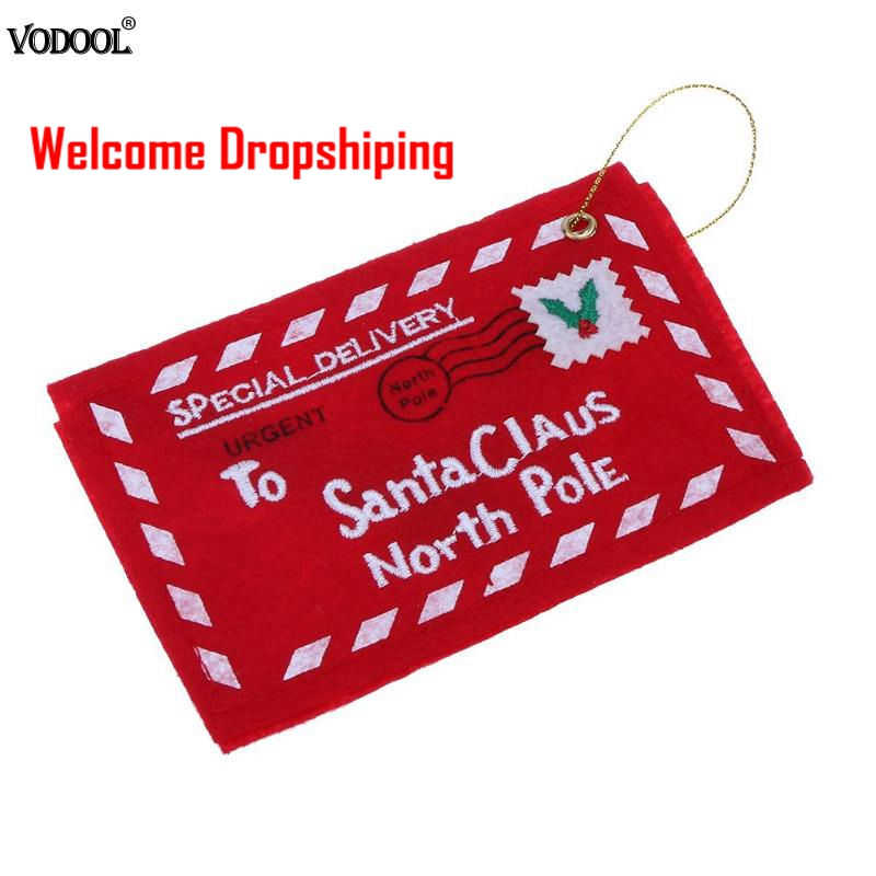1pc Envelope Christmas Envelopes For Invitations Greeting Envelopes Non-woven Cards Postcards Candy Bag Decor Red Bag Gifts