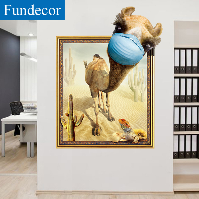 Fundecor] 3D false window camel animals wall stickers for kids rooms ...