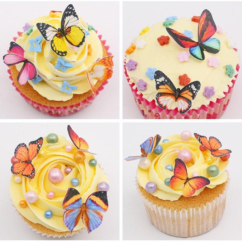20pcs/box Edible Wafer Rice Paper Butterfly Cake Topper Cupcake ...