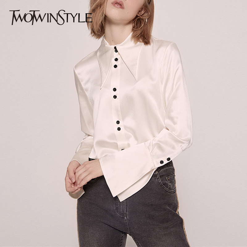 TWOTWINSTYLE Vintage Satin Shirt Blouses Female Button Flare Sleeve Shirts Tops Women Casual Fashion Elegant Clothes