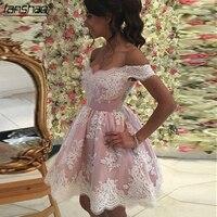 Pink 2019 Homecoming Dresses A line Off The Shoulder Short Mini Appliques Lace Elegant Cocktail Dresses