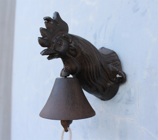 Cast Iron Rooster Wall Mounted Bell Ornate Door Doorbell Rustic Cottage Patio Garden Farm Country Barn Decor Free Shipping