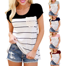 Patchwork Striped hollow out Pockets women t shirt summer short sleeve tunic Vintage top 2019 harajuku vogue slim cotton clothes