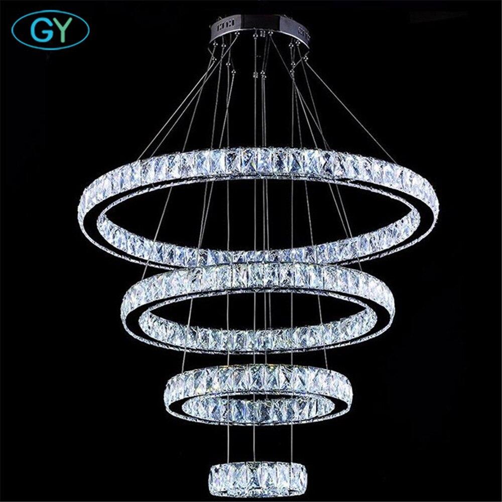 AC110-240V NEW Crystal 4 Rings led Pendant Lights Ceiling Circle lustres 87W modern home foyer DIY pendant lighting lamparas luz