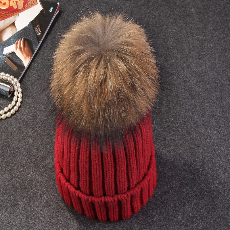 mink and fox fur ball cap pom poms winter hat for women girl 's wool hat knitted cotton beanies cap brand new thick female cap 2017mink and fox fur ball cap pom winter hat for women girl s wool hat knitted cotton beanies cap brand new thick female cap