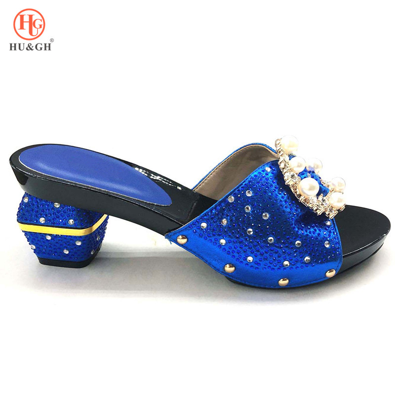 2018 New Italian Ladies Sexy High Heels Pumps Royal Blue Rhinestones Design Ladies Women Pumps African