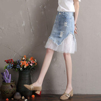2019 summer new women skirts denim lace patchwork ruffles office lady elegant skirts mermaid Slim Skirts