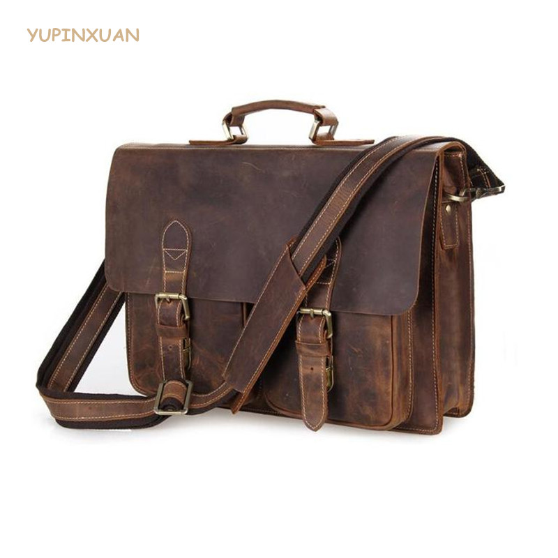 YUPINXUAN Vintage Cow Leather Briefcases for Men Luxury Genuine Leather Work Bags Big Real Leather Brief Case Hombre Bloso Chile