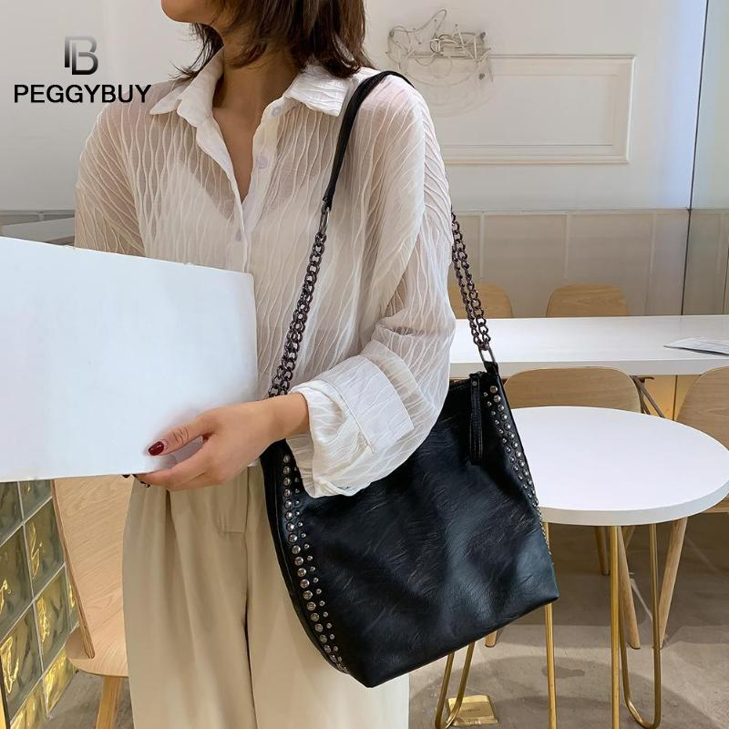 Large Rivet Totes Solid Color Shoulder Handbags Women Leather Crossbody Bag PU Leather Purses Bags Solid Color Bag Bead