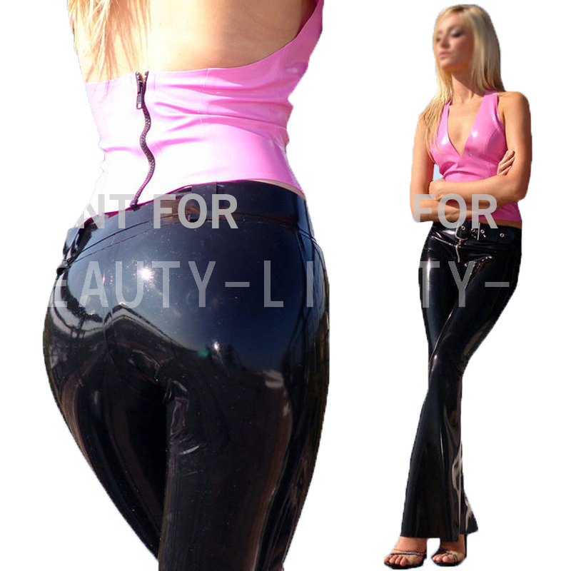 Latex Costume Trousers Pants For Women Fetish Exotic Capris Sexy with waist band