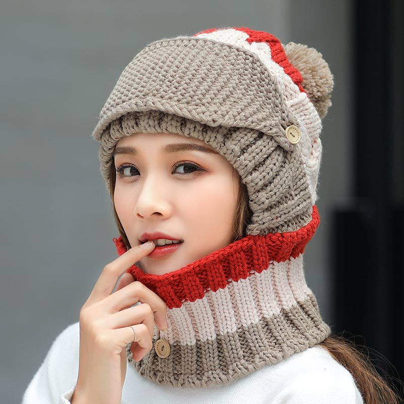2019 Winter Hat scarf Set for Women Kitted Thicken Winter ring Scarves with Masks Men Unisex Winter hat Female set