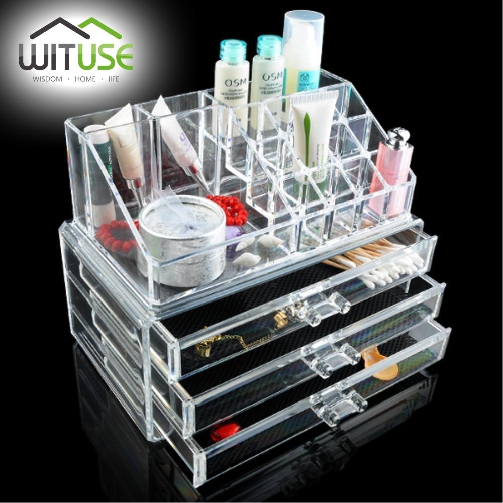SALE NEW Cosmetic Organizer 4-layer Drawers Acrilico Desk Jewelry Organizer Acrylic Makeup Organizer Arrangement Storage Box