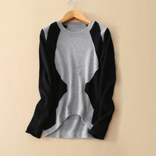 Women's fashion patchwork decor irregular hem thick pullover sweater 100% cashmere knitted