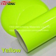 Премиум Стиль автомобиля Глянцевая флуоресцентная желтая виниловая наклейка Глянцевая флуоресцентная желтая виниловая пленка самоклеющаяся наклейка