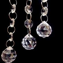 Четырехместный 5 шт. хрустальные сферические капельки из бисера цепь Люстра Запчасти призматические шары кулон Свадебная вечеринка освещение Декор