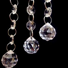 Quadruple 5pcs Crystal Spherical Droplets Bead Chain Chandelier Parts  Prism Balls Pendant Wedding Party Lighting Decor