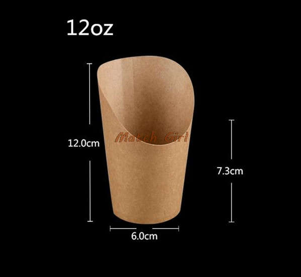 100pcs/lot-6x7.3x12cm 12oz Disposable white kraft paper french fries cup Fried Chicken Wings Popcorn Dessert storage Box