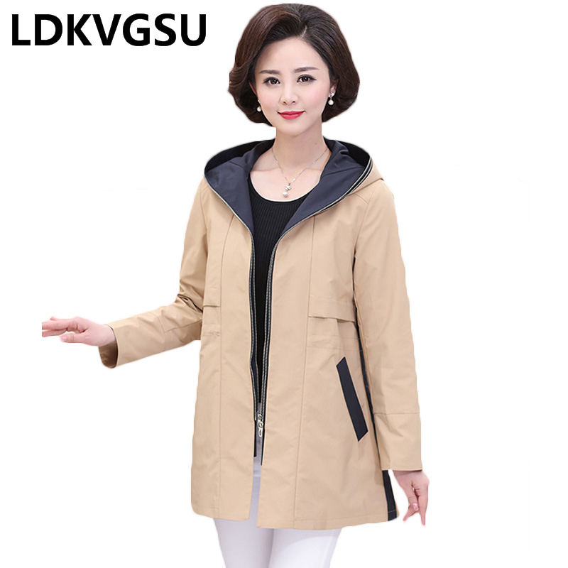Middle-aged Female   Trench   Coat 2018 Spring Autumn New Mother Women Hooded Zipper Loose Large Size 4XL Windbreaker Is857