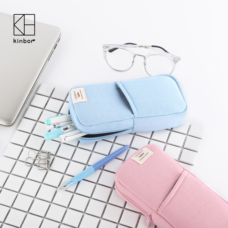 Cute Pink Blue Canvas Pencil Bag Travel Makeup Brush Pouch Multifunction Students Pencil Case Kawaii Stationery