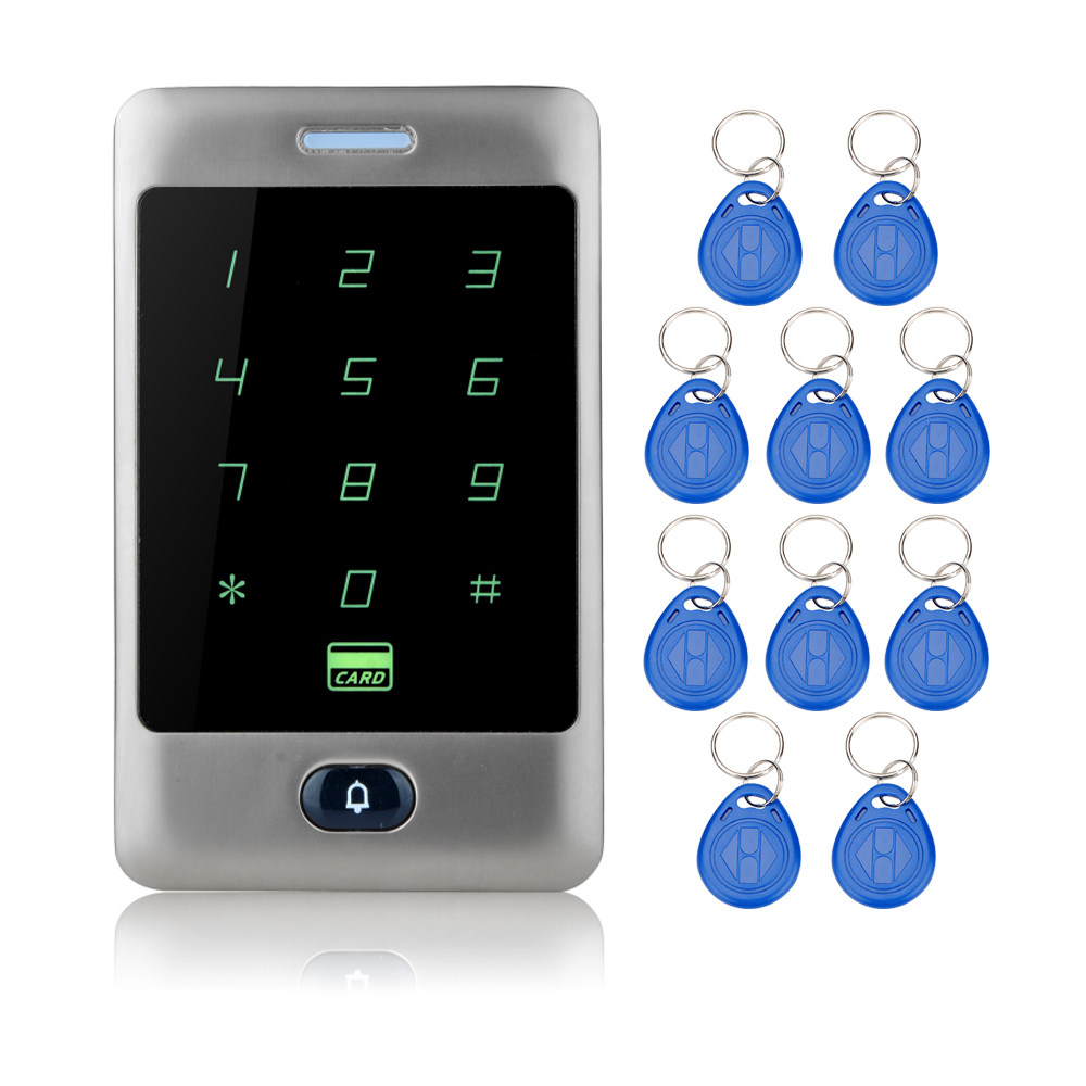 8000users Touch Waterproof  RFID Access Control Metal keypad+10 RFID Key Fobs for Door Access Control System Electric door locks diysecur 50pcs lot 125khz rfid card key fobs door key for access control system rfid reader use red